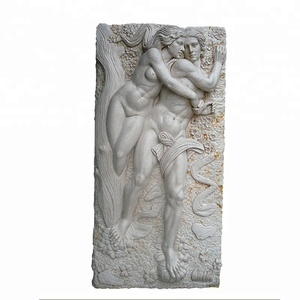 hand carved natural stone marble lovers wall relief sculpture for sale