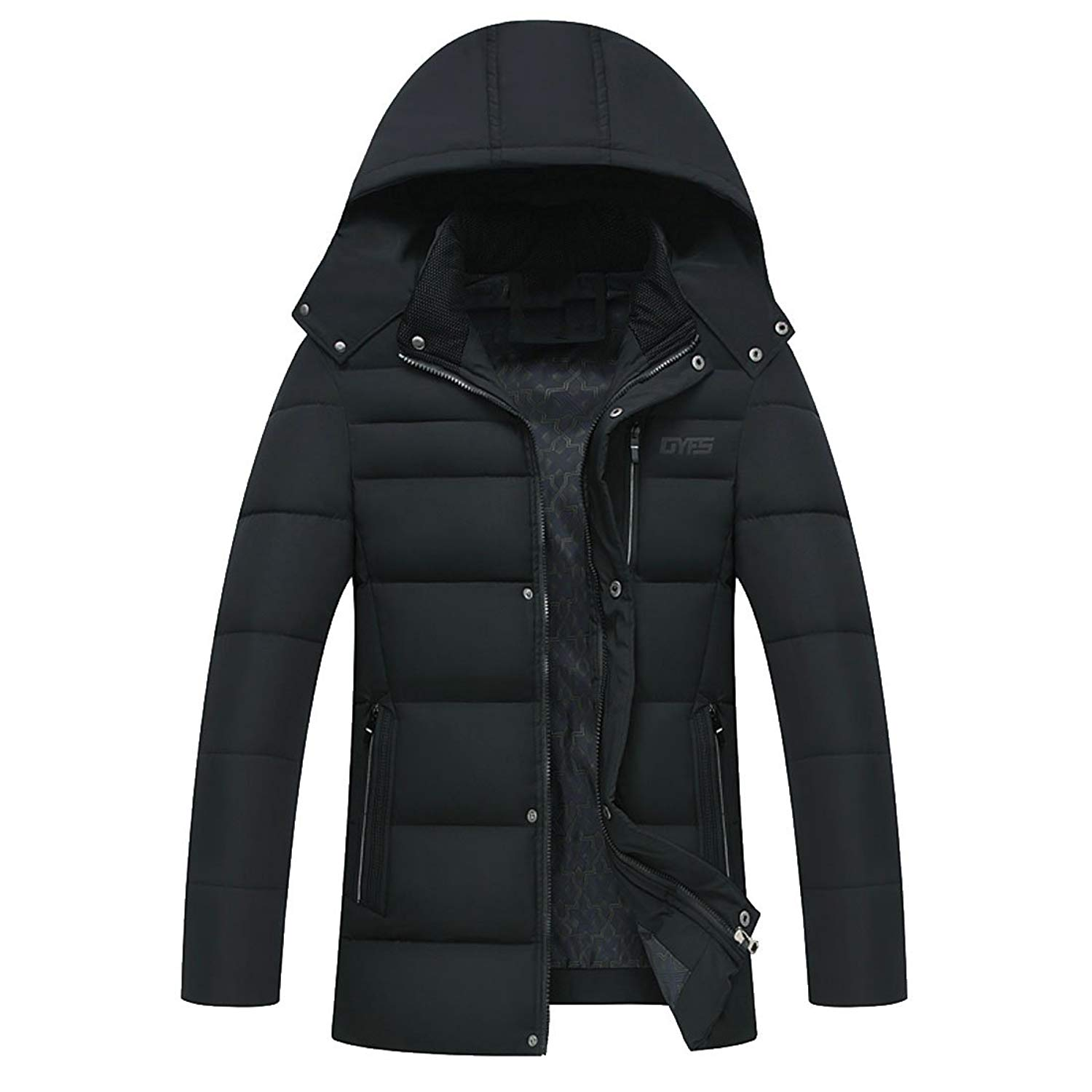UUYUK-Men Thicken Solid Quilted Padded Hoodies Zip-up Windproof Jackets