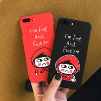 Funny Letters Painting Red Hard Cover Case Shell for iPhone X iPhone 6 6s iPhone 7 8 Plus Fashion Cover Shell