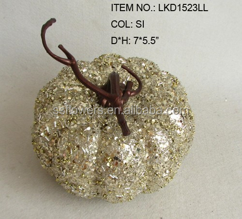 Artificial purple and silver Halloween pumpkin covered with colorful sequin dyed foam pumpkin factory supplier