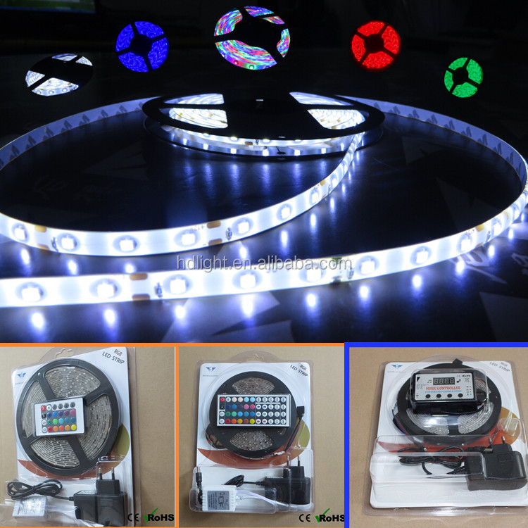 Cheap 2835 strip light led strip light 5 meter per roll 16.4 feet 300leds 12 volt smd blister kit 24 44 key remote controller
