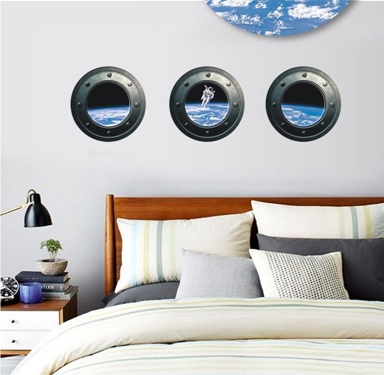3d simulation creative windows scenery outer space for Wall decor outer space