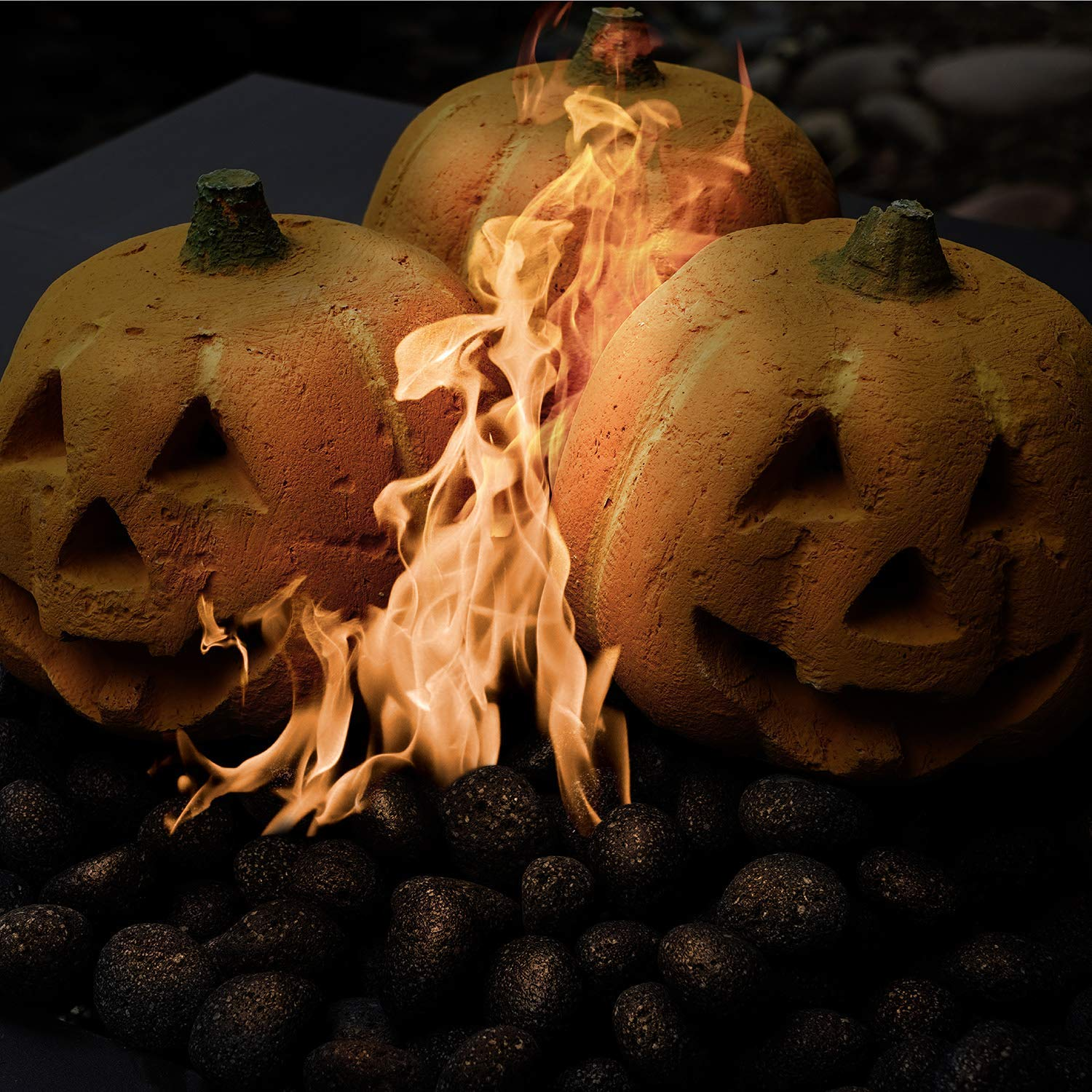 Ceramic Carved Pumpkin | Fireproof Ceramic Decoration for Fire Pits and Fireplaces | Faux Halloween Decor, 1-Pack