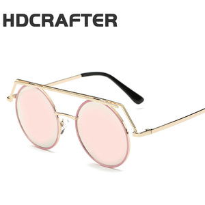 HDCRAFTER Vintage Retro Unisex Gothic Sunglasses Women Men Steampunk Goggles Round Lens Mirror Steam Punk Sun Glasses Oculos