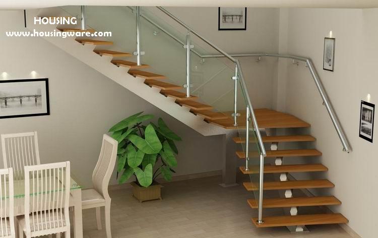 moderne treppe mit l form glas gel nder treppe produkt id 1226853334. Black Bedroom Furniture Sets. Home Design Ideas