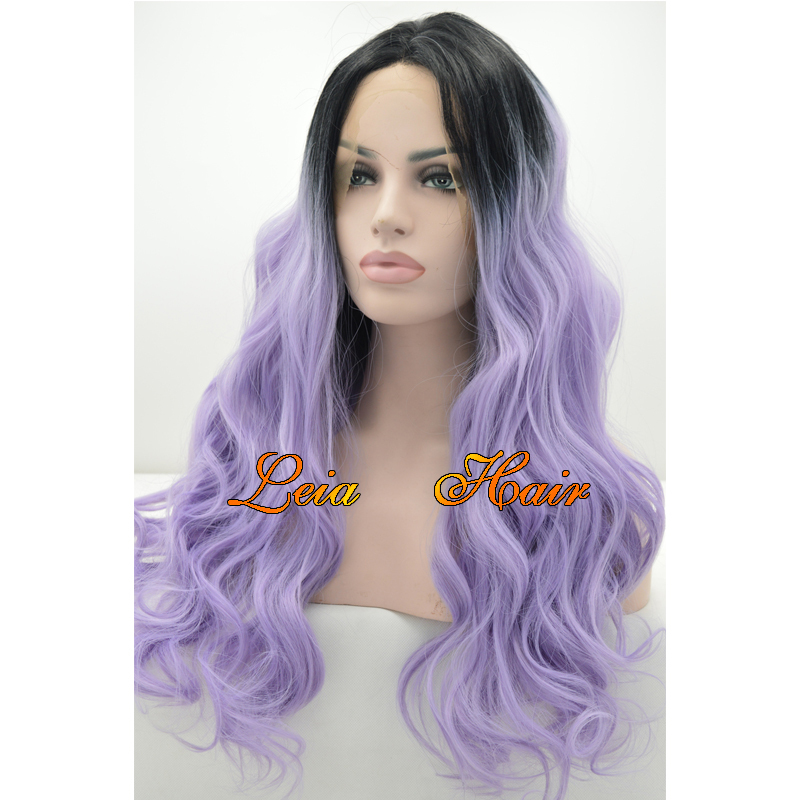Purple Wig Synthetic Lace Front Ombre Wig Long Wavy Hair Heat Resistant Kanekalon Glueless Black To Purple Ombre Wig For Women