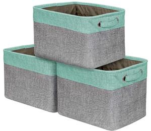 Home Decorative Basket Rectangular Fabric Storage Boxes Bins Organizer Basket with Handles for Clothes Storage