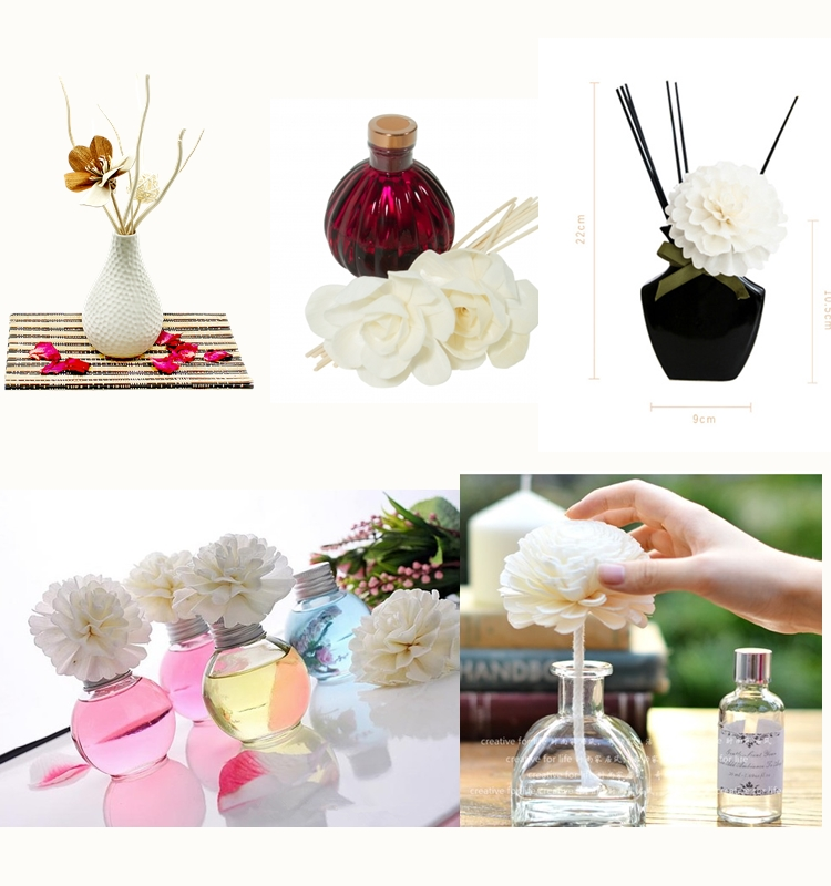 Wholesale bulk thailand wed decoration essenti oil reed diffuser fragrance artificial wooden sola flower bouquet for home