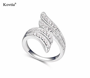 Angle wings shape ring white gold plated austria crystal finger rings jewelry girls party dresses