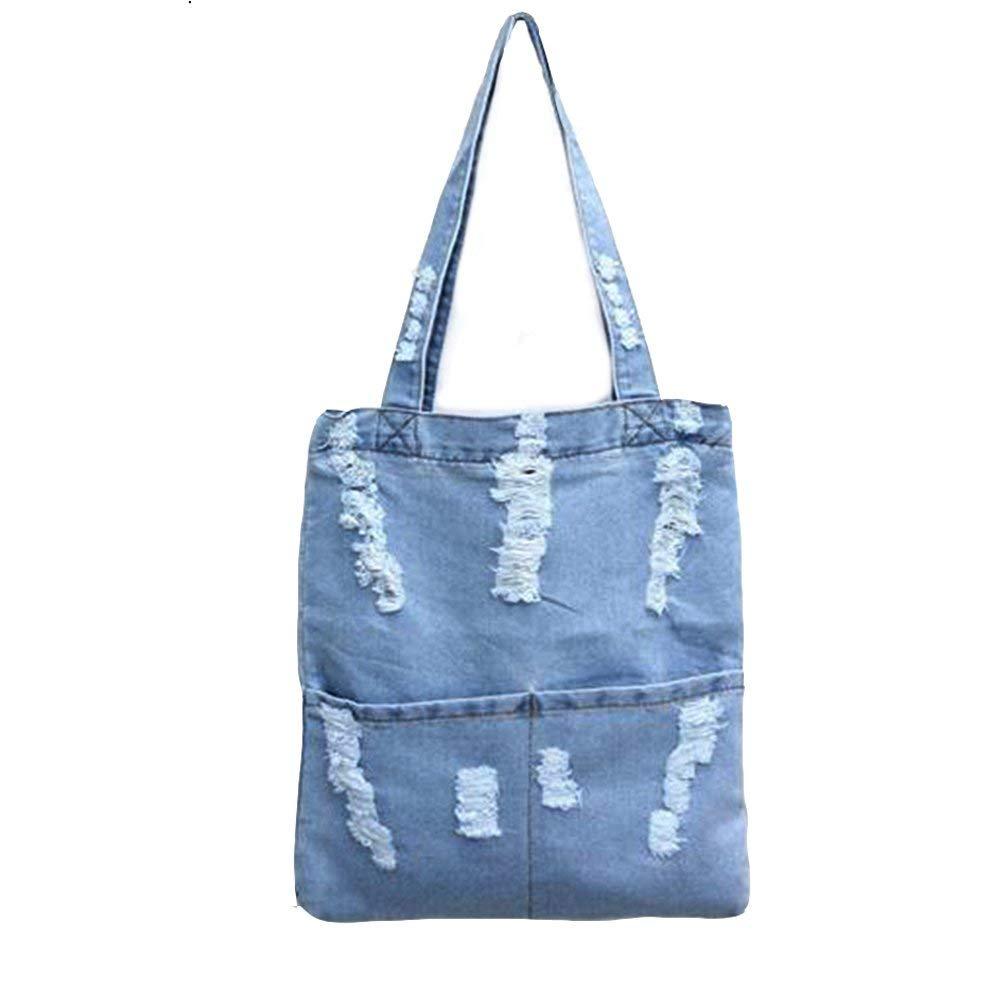 f6a8b773b58c Manka Vesa Women Canvas Bag Denim Tote Shoulder Shopping Bag Handbag Pockets