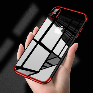 Ultra thin transparent soft TPU custom plating protective phone case for iPhone X case cover