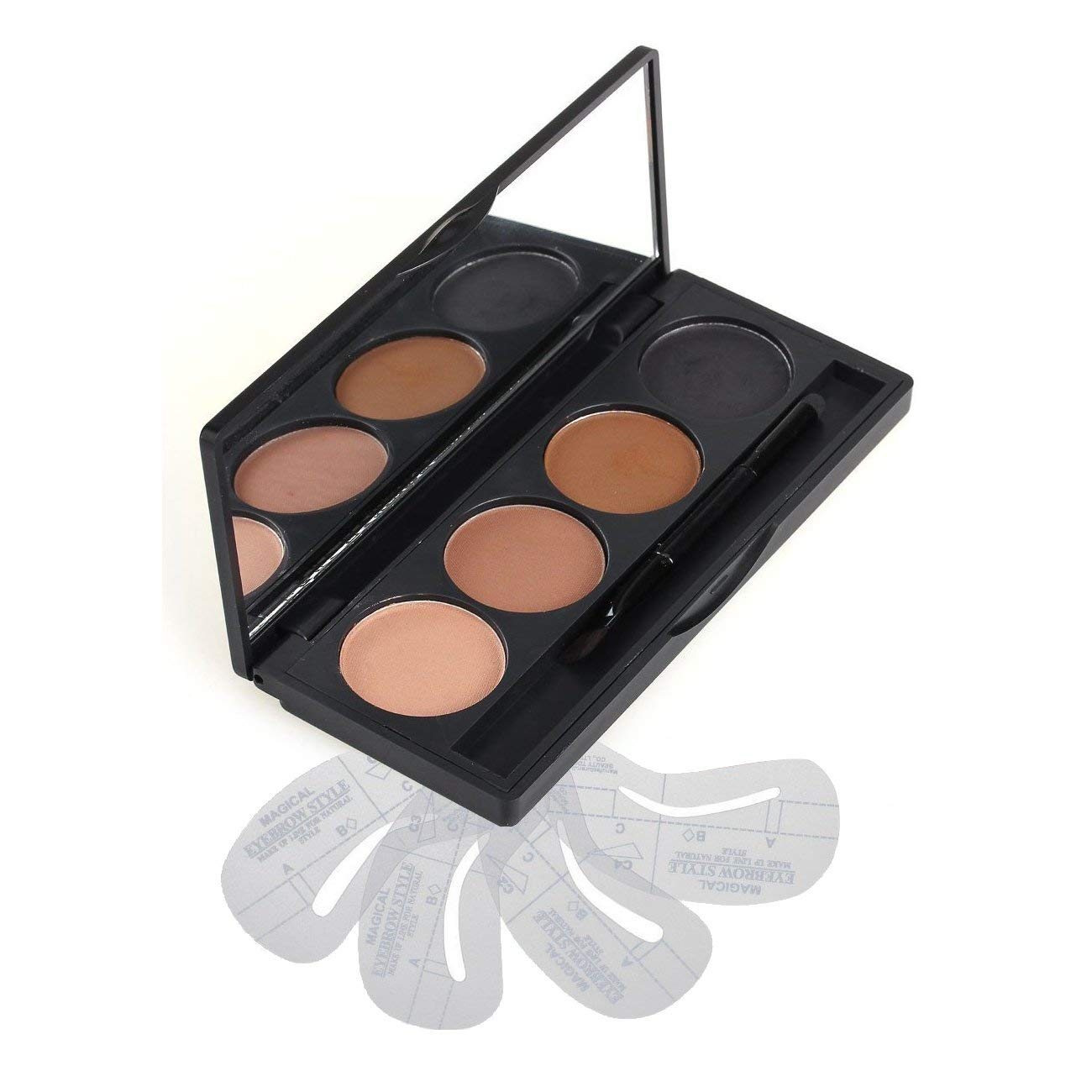 VONISA Makeup Powder 4 Colour Eyebrow Kit-Eye Brow Tint Palette -Beauty Cosmetics Light Brown Brow Dye for Nose Shaded-Professional Make Up Eye Brows Filler+4 Eyebrow Shaping Stencils+ Eyebrow Brush