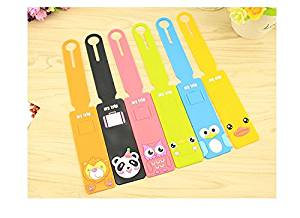Yalis 6 Sets Cute Colorful Cartoon Silicone Luggage Tags, ID Holder Travel Backpack Handbag Label for Business (6 Colors)