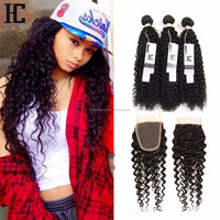Top quality Malaysian kinky curly human virgin hair 3 bundles with closure and lace frontal