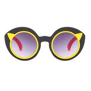 8b75653699 Customized Logo Fashion Cheap Cut Colorful Plastic Frame Circle Kids Sunglasses  Cute PC Cat Ear Sunglasses