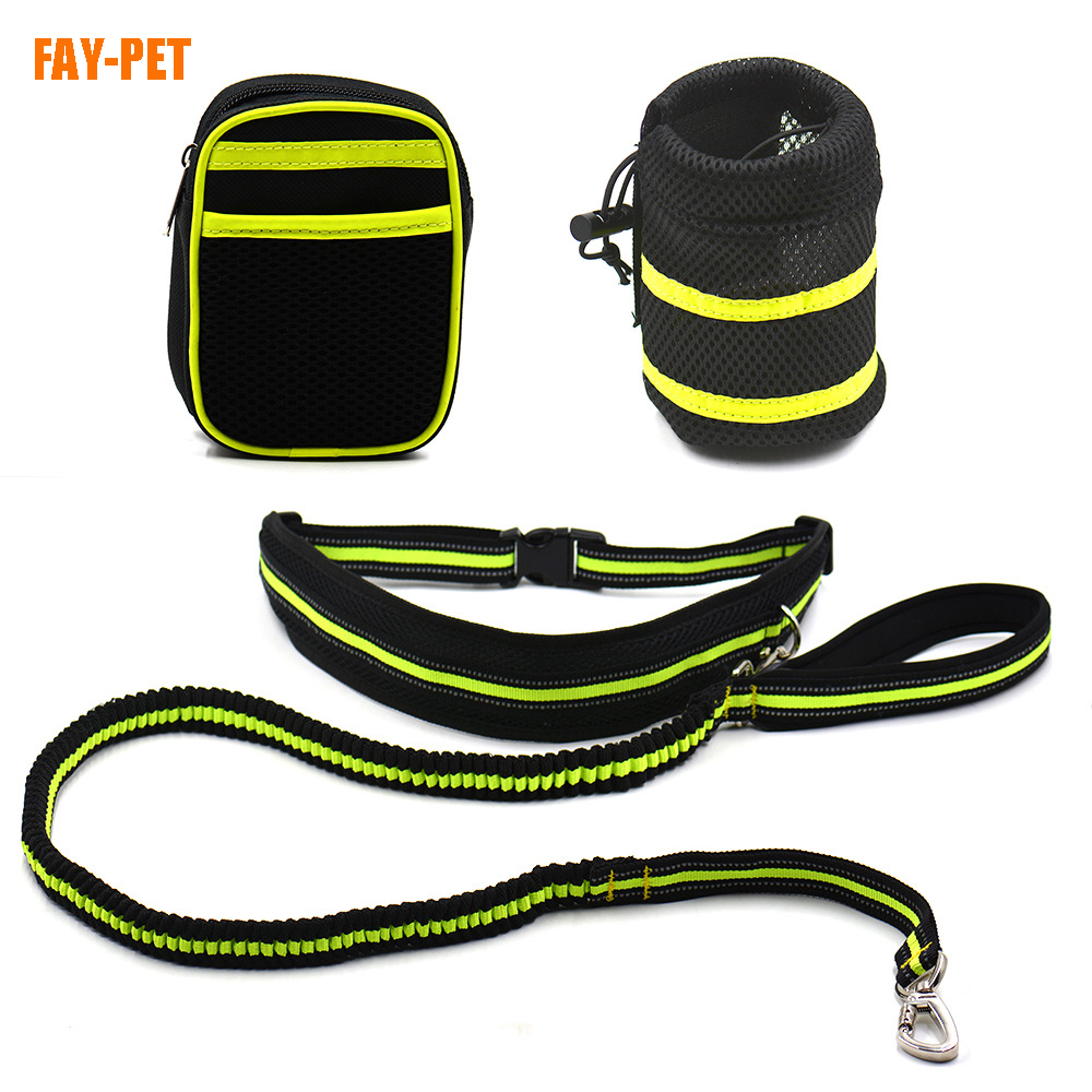 Hands free dog leash light bag with waist bag reflective bungee running dog leash