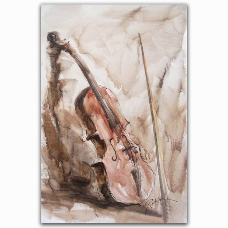 Ideal 100% Hand Painting Beautiful Musical Instrument Violin Wall Art  FG31