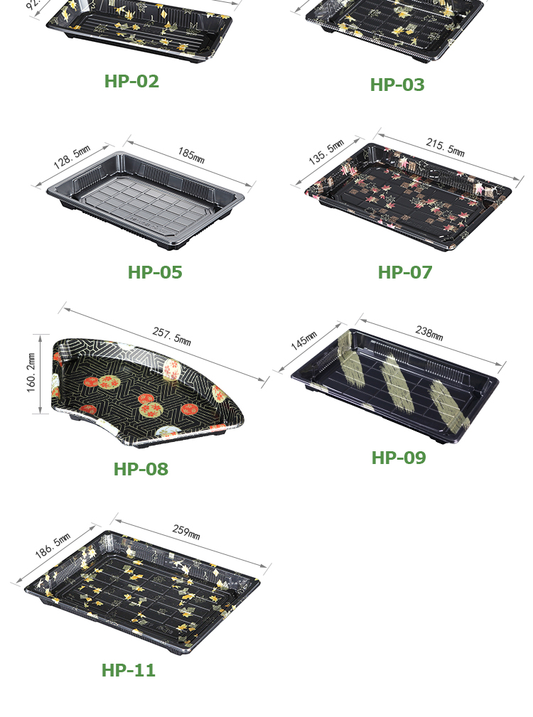 Easy Green disposable plastic rectangular food sushi tray