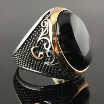 925 Sterling Silver Black Onyx Ellipse Stone Men`s Ring