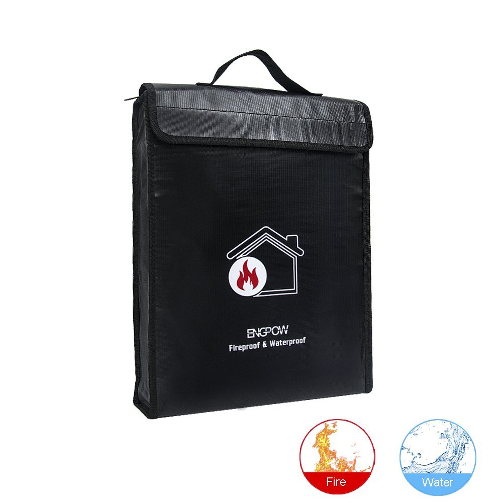 """ENGPOW Fireproof Document Bag 15""""x11""""x2.6"""" NON-ITCHY Zipper and Velcro Closure For Safe Box Maximum Protection,Silicone Coated Water Resistant Money Bag Man Bag"""
