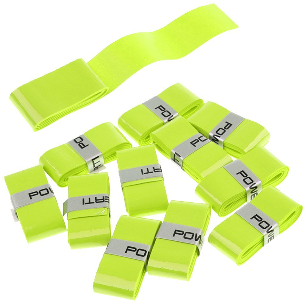 Homyl 12Pcs/Pack of Squash Badminton Racket Grip Tape, Replacement Tennis Overgrip Sweatband Handle Grip Fluorescent Yellow