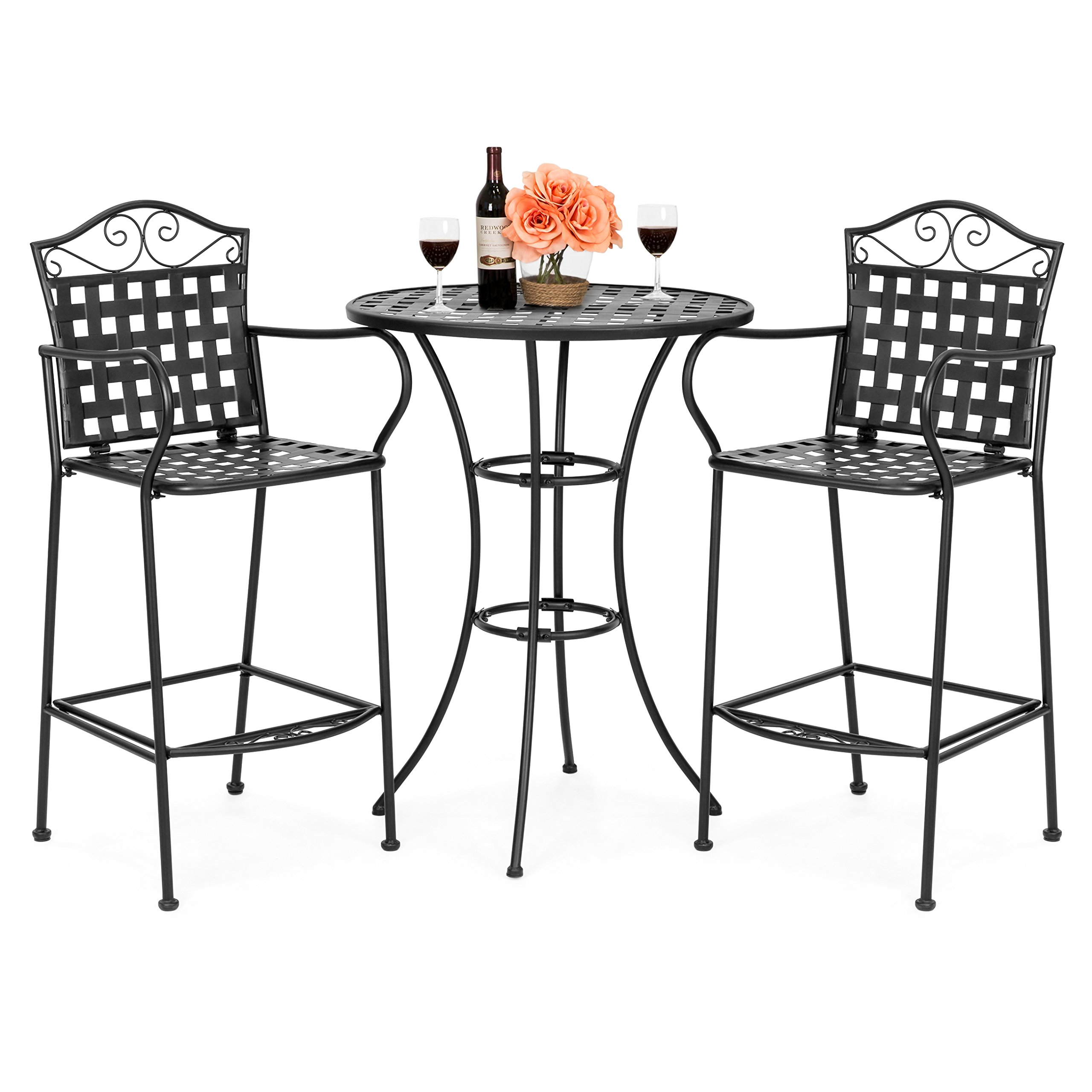 Get Quotations Best Choice Products 3 Piece Woven Pattern Wrought Iron Patio Bar Height Bistro Table Set