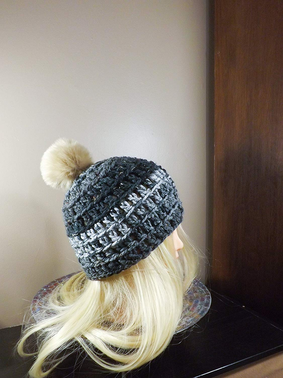 79642ad916c Get Quotations · Grey Beanie with PomPom