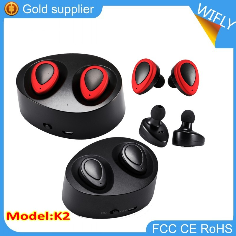 Twins True TWS Wireless Bluetooth Headphone Stereo Mini Two Earbuds Portable Handsfree in Ear With Charging Socket Box Dock