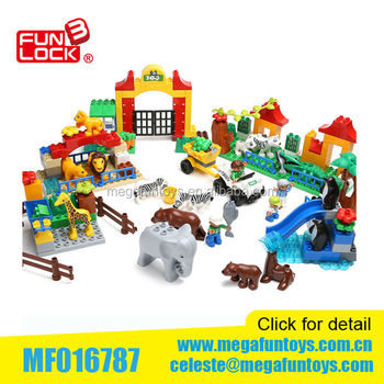 Happy Animals Big Block Sets 146pcs Duplo Building Block Of Zoo