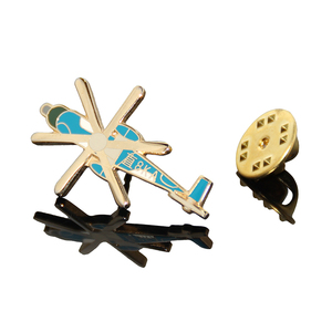 Helicopter Shaped Fashion Design Souvenir Gifts Lapel Pin Promotional Wholesale Gold Metal Airplane Emblems