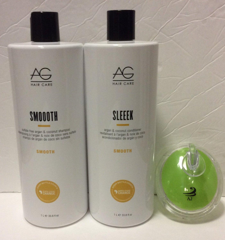 Ag Hair Smooth Sulfate Free Argan Shampoo 33.8 Oz ,Ag Hair Sleek Argan Conditioner, 33.8 Oz and AJ Tote Bundle.