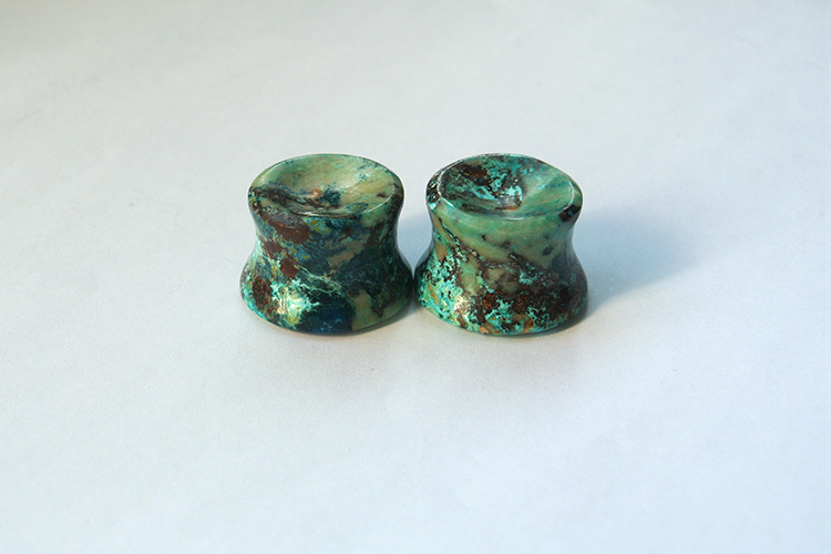 Chrysocolla Ear Plugs Mayan Flare Earring Body Piercing Jewelry 17mm 13 thickness Concave