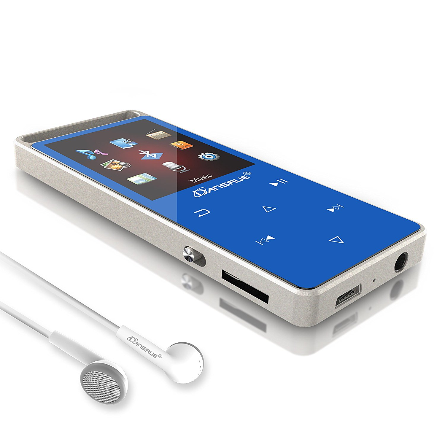 Dansrue Bluetooth MP3 Player 8 GB, Hi-Fi Lossless Sound Metal Music Player with FM Radio/Voice Recorder/E-Book, Touch Button and 1.8 Inch TFT Screen (Expandable Up to 128GB)