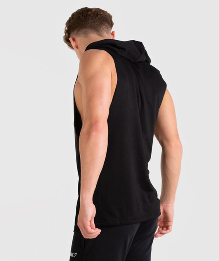 OEM Cotton Fleece Custom Logo Fashion Mens Drop Arm Sleeveless Hoodie Gym