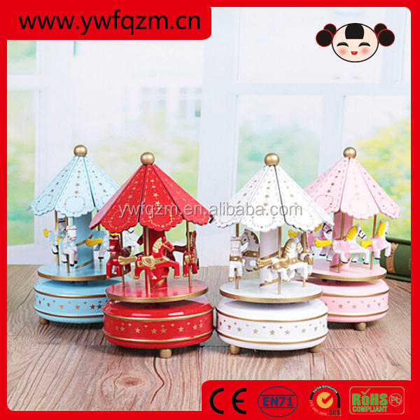 2016 new design wonderful life carousel wooden music box