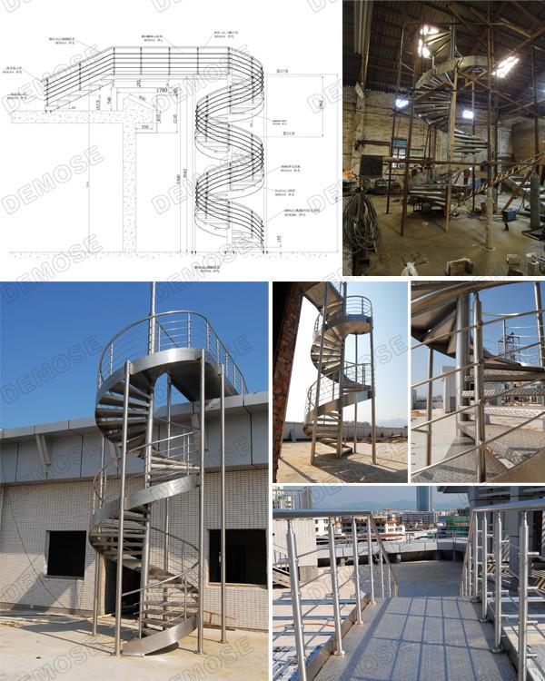 Used Metal Stair Anti Slip Granite Steps Spiral Staircase
