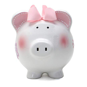Pink Butterfly Decoration Ceramic Piggy Money Bank