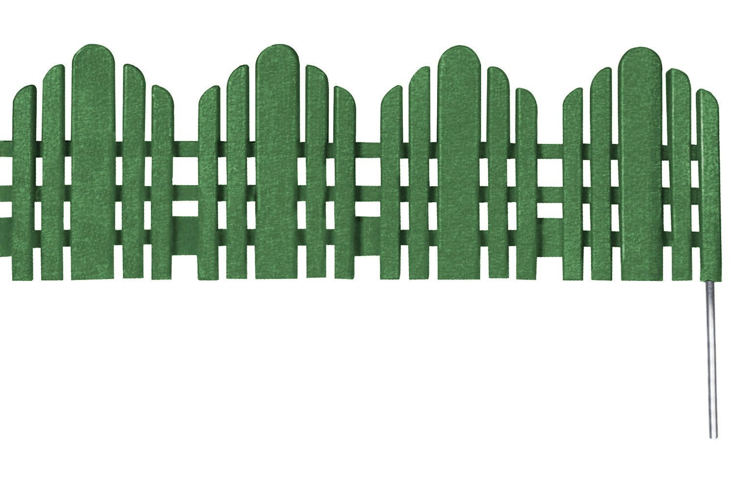 Decorative Landscape Edging Adirondack Border (No Dig Edging) Green 22 Inch x 6 Inch Sections, 18 Sections Pack (33 Feet)