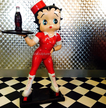 Design Fashion Waitress Fiberglass Cartoon Betty Boop Statue With ...