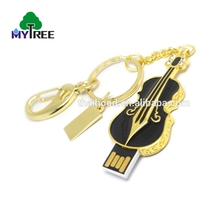 Modern design lovely flash drive memory violin mini stick usb 64gb with metal key ring