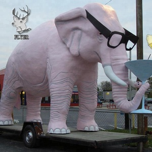 Garden decoration life size resin elephant sculpture with glasses