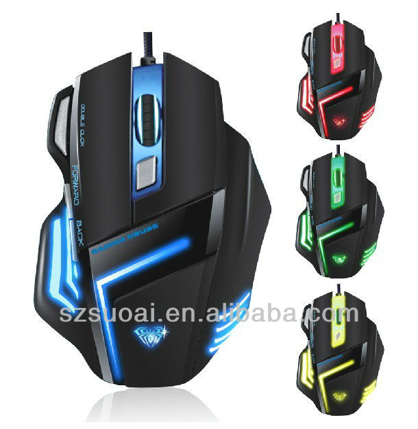 2014 HOT wired USB 7D 7 Colors computer optical gaming mouse with BLN and the cheapest PC optical gaming mouse