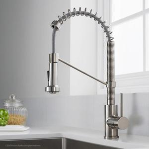 Single Handle Kitchen Faucet With Spring Brushed Nickel Pull Out Sprayer, Single Lever Pull Down Kitchen Sink Faucets