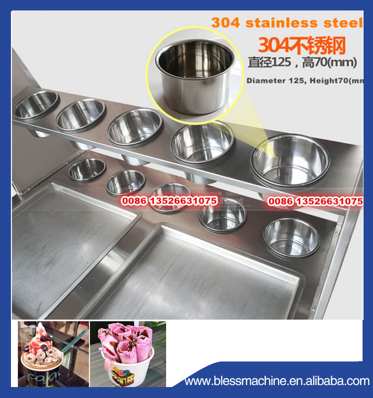 Super performance stainless steel fried ice cream roll machine