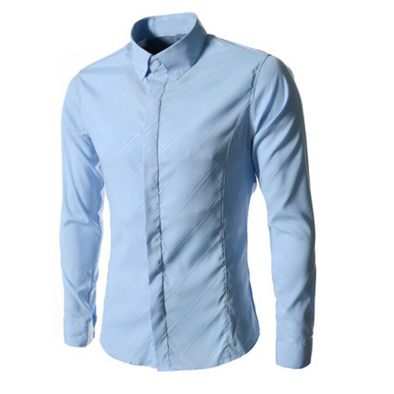 98e6c2c2bc3 Get Quotations · Men s Dress Shirts Summer Style Solid 2015 Formal Business  Brand New Slim Fit Long Sleeve Slim