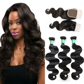Malaysian Body Hair Crochet Braids Remy Hair Human Hair 3 Bundles and  4x4 Lace Closure