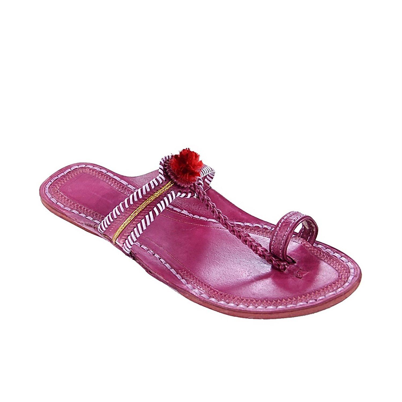 KOLHAPURI CHAPPAL Original Attractive Pink Watch Style Red Gonda Ladies Ladies Slipper Sandal