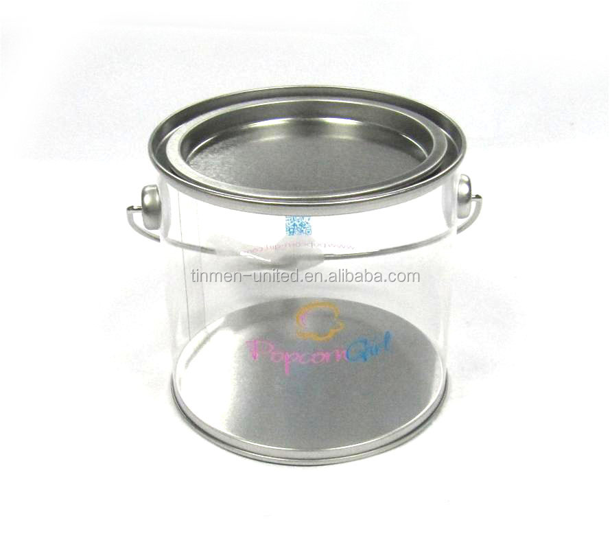Round Tin Box with handle/plactic shape with metal top tin