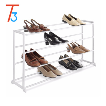 Tri-Tiger 20 Pair Floor Shoe Rack, White