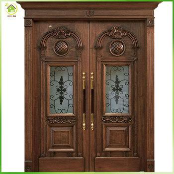 Hot Sale Qatar Teak Or Walnut Solid Wood Main Door For
